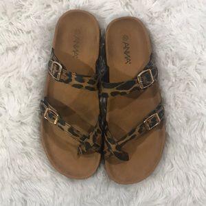 ANNA Leopard Print Design Sandals